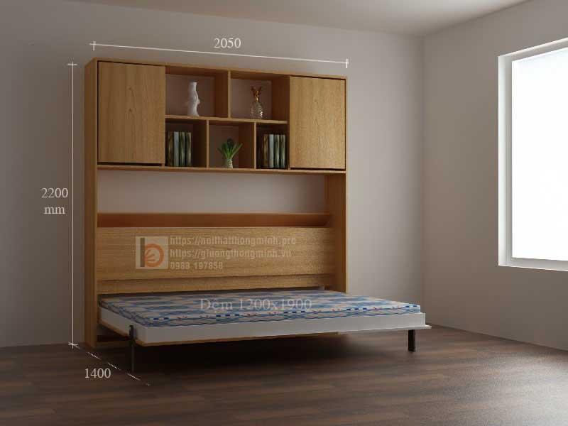 Giường thông minh gấp ngang khi hạ mặt giường