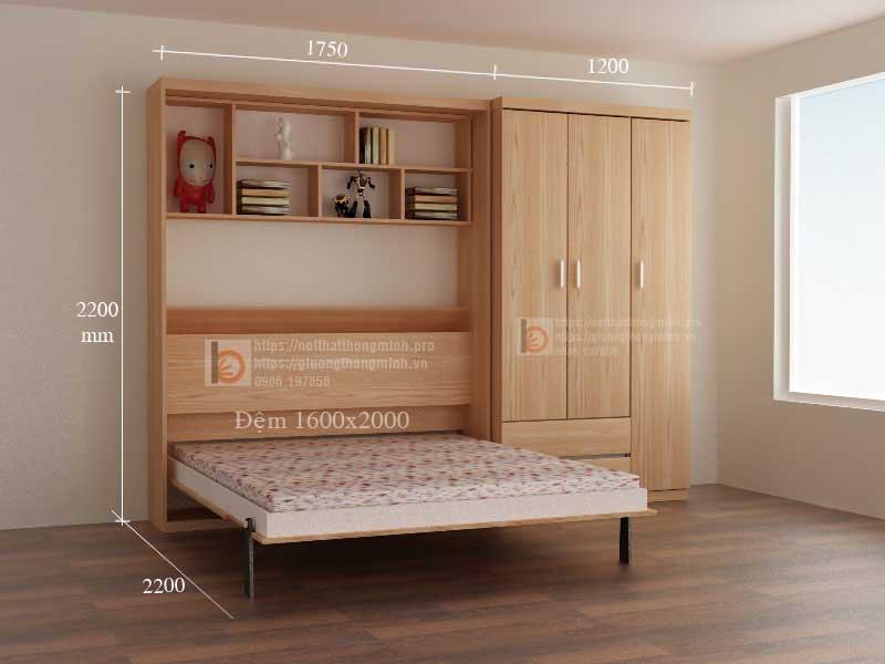 Bộ giường ngủ thông minh 016 - T tích hợp tủ quần áo, tủ đầu giường và kệ trang trí