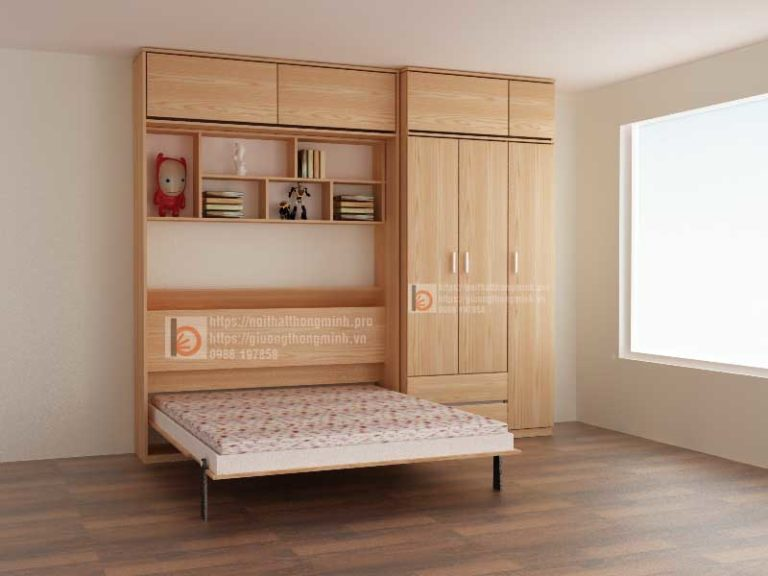 Giường gấp thông minh kết hợp tủ quần áo và tủ kịch trần
