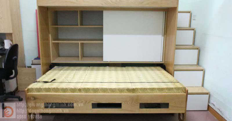Tủ quần áo cánh lùa được tích hợp bên trong giường