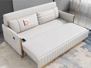 sofa giường thông minh nỉ trắng