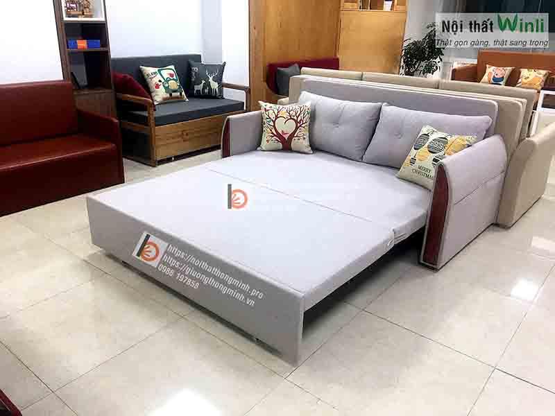 Sofa giường thông minh nan sắt tay gỗ- GC