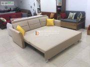 sofa giường dọc tay nỉ gỗ nan sắtt