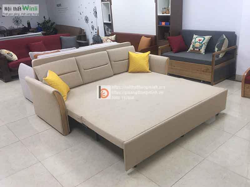 Sofa giường thông minh tay nỉ gỗ nan sắt-N2G