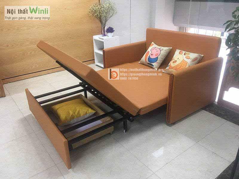 Mẫu sofa giường thông minh bọc giả da màu cam