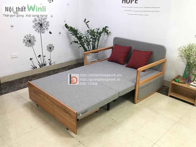 Sofa giường thông minh tay gỗ nhỏ nan sắt-T36