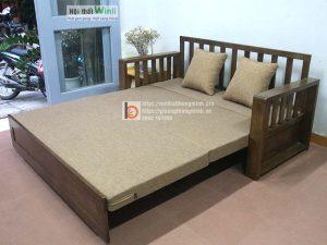 sofa giường tay gỗ màu óc chó2