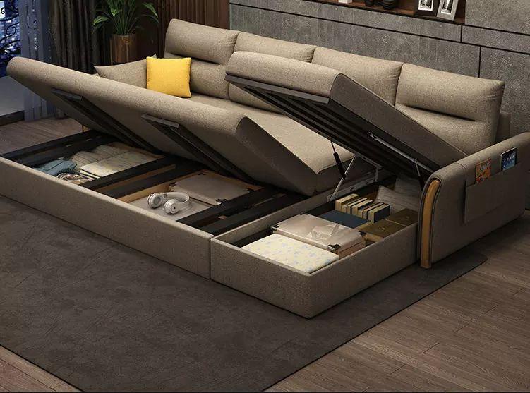 Sofa giường góc chữ L nan sắt sang trọng