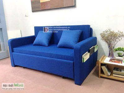 sofa giường bọc nỉ màu xanh