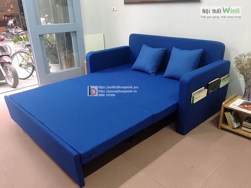 Sofa giường nan sắt bọc nỉ toàn bộ màu xanh hiện đại