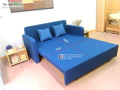 sofa giường nỉ xanh