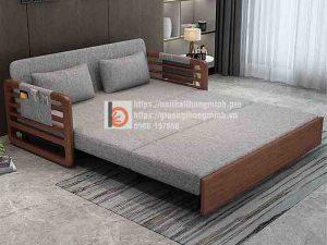 Sofa giường thông minh nan sắt tay gỗ độc đáo-TGT2