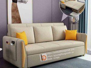 Sofa giường thông minh nan sắt tay gỗ tam giác-TGT