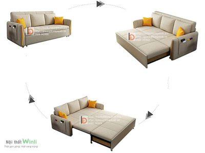 Sofa giường thông minh nan sắt tay gỗ tam giác1-TGT