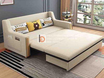Sofa giường thông minh tay gỗ bọc nỉ-NGT