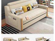 Sofa giường thông minh tay gỗ bọc nỉ-NGT1