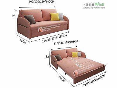 sofa giường thông minh nan sắt-hồng