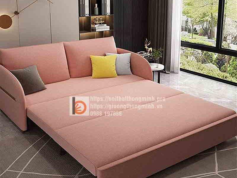 Sofa giường thông minh nan sắt bọc nỉ toàn bộ-BNH