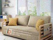 sofa giường thông minh nan sắt tay gỗ-NV1