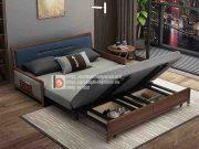 sofa giường thông minh nan sắt tay gỗ bọc nỉ-MNX