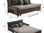 sofa giường thông minh nan sắt tay gỗ bọc nỉ-MNX1