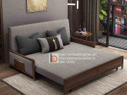 sofa giường thông minh nan sắt tay gỗ bọc nỉ-MNX2