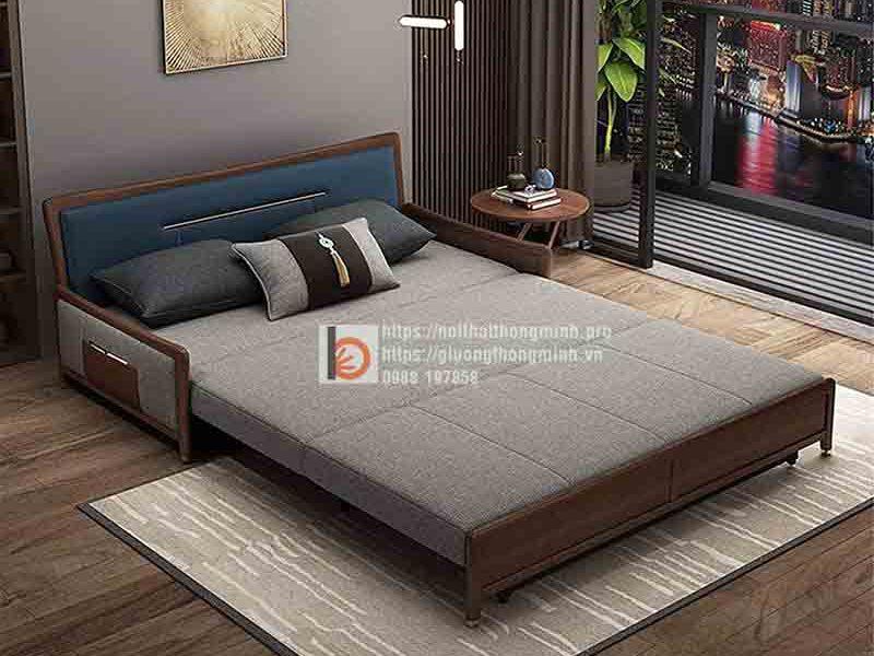 Sofa giường thông minh bọc nỉ viền gỗ-TGT