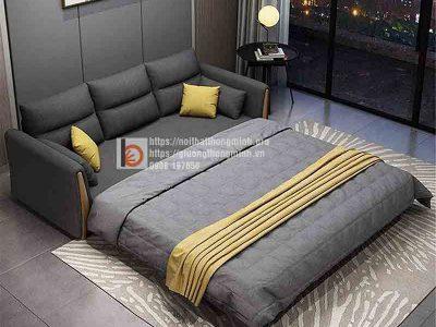 sofa giường thông minh nan sắt tay gỗ tam giác đen4